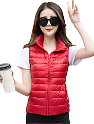 Women's Solid Portable Light Down Vest Coat Jacket,Simple / Street chic / Active Stand Sleeveless