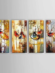 cheap -Large Size Hand-Painted Ballet Dancer Canvas Painting Art Oil Painting on Canvas 4pcs/set With Frame Ready To Hang