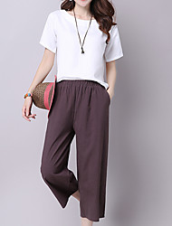 cheap -Women's Casual Wide Leg Jeans Pants - Solid Colored