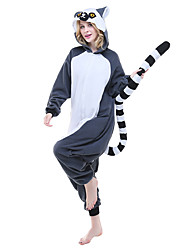 Kigurumi Pajamas Lemur Onesie Pajamas Costume Polar Fleece Ink Blue Cosplay For Adults' Animal Sleepwear Cartoon Halloween Festival /
