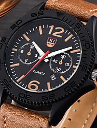 cheap -Men's Quartz Wrist Watch Calendar / date / day Leather Band Casual Black / White