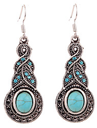 Hot Sale Vintage Ethnic Style Bohemia Tibetan Silver Plated Turquoise Gourd Flower Drop Earrings For Women