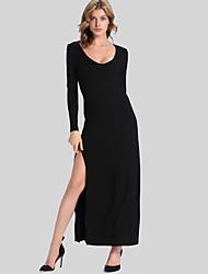 Gaine Robe Femme Soirée Sexy,Couleur Pleine Col en U Asymétrique Manches Longues Noir Polyester Automne Hiver Taille Normale