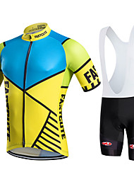 Fastcute Cycling Jersey with Bib Shorts Men's Women's Kid's Unisex Short Sleeves Bike Bib Shorts Jersey Bib Tights Sweatshirt Clothing