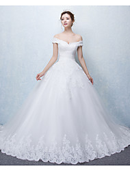 cheap -Ball Gown Off Shoulder Cathedral Train Lace Over Tulle Custom Wedding Dresses with Appliques Ruffle by LAN TING Express