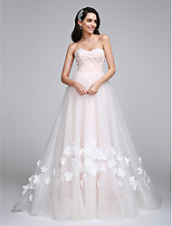 A-Line Sweetheart Court Train Tulle Wedding Dress with Flower by LAN TING BRIDE®