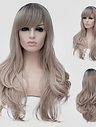 Ash Blonde wavy hair and the wind nightclub performances Street color million with a partial wig.