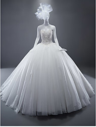Ball Gown Sweetheart Sweep / Brush Train Tulle Wedding Dress with Crystal Beading Appliques by LAN TING BRIDE®