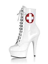 Feminino-Botas-Plataforma Botas da Moda Sapatos clube Light Up Shoes-Salto Agulha Plataforma-Branco-Couro Envernizado-Casamento Social