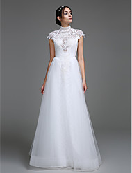 cheap -A-Line Plunging Neckline Floor Length Tulle Wedding Dress with Pattern by LAN TING BRIDE®