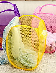 cheap -Folding Storage Basket  Folding Mesh Laundry Basket(Random Colors)