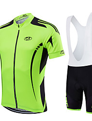 cheap -Fastcute Men's Women's Short Sleeves Cycling Jersey with Bib Shorts Bike Bib Shorts Bib Tights Jersey Clothing Suits, Quick Dry,