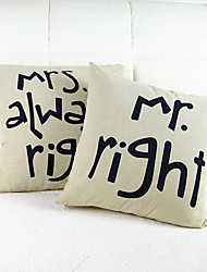 Set Of 2 Text Print Cotton/Linen Pillow Cover