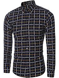 Masculino Camisa Social Casual Temática Asiática Primavera Outono,Xadrez Poliéster Colarinho de Camisa Manga Longa Fina