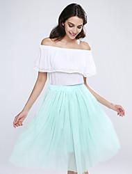 billige -Dame A-linje Nederdele Ensfarvet, Flettet