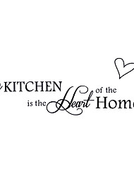 cheap -Kitchen Heart Love English Quotations Wall Stickers DIY Fashion Kitchen Wall Decals Home Decoration