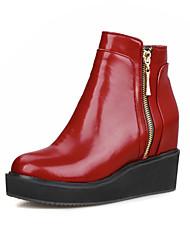 Mulheres Sapatos Couro Ecológico Inverno Outono Botas da Moda Conforto Botas Caminhada Aventura Salto Plataforma Ponta Redonda Ziper para