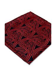 New Men's Pocket Square 100% Silk Red Floral Dress Business Jacquard Woven For Men Handkerchief