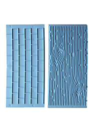 cheap -2pcs Bakeware Stone Walls Tree Bark Design Fondant Caked Decoration Tools for Cake DIY