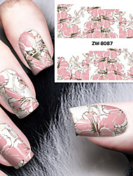 cheap -fashion printing pattern water transfer printing gouache flower nail stickers