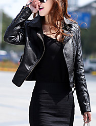 cheap -Women's Casual/Daily Casual Spring Leather Jacket