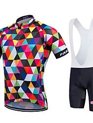 baratos -Fastcute Homens Manga Curta Camisa com Bermuda Bretelle - Arco-Íris Geométrico Moto Tights Bib Camisa/Roupas Para Esporte Conjuntos de