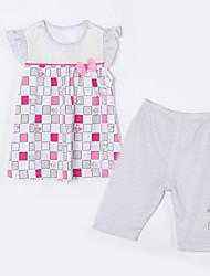 abordables -Ensemble de Vêtements Fille Quotidien Tartan Coton Eté Manches Courtes Dessin Animé Damier Gris