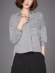 Women's Fine Stripe Plus Size Street chic Fall Short in Front Long Loose Thin Shirt,Striped Shirt Collar Long Sleeve White / Black