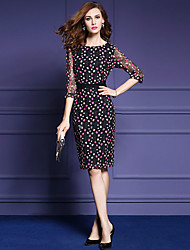cheap -Women's Going out Street chic Sheath Dress,Print / Embroidered Round Neck Knee-length ¾ Sleeve Black Polyester Fall