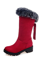 cheap -Women's Shoes Fur / Fleece Fall / Winter Comfort / Snow Boots Boots Hiking Shoes Chunky Heel Round Toe Tassel Black / Brown / Red