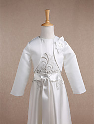 cheap -Long Sleeves Satin Wedding Party Evening Kids' Wraps With Flower Shrugs