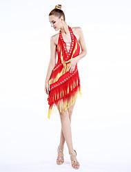 Dança Latina Vestidos Mulheres Actuação Náilon Chinês Veludo 1 Peça Sem Mangas Natural Vestido