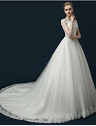 cheap -A-Line Princess Off-the-shoulder Cathedral Train Tulle Wedding Dress with Beading Appliques Ruffle by LAN TING BRIDE®