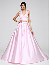 cheap -A-Line Two Piece Halter Sweep / Brush Train Satin Prom / Formal Evening Dress with Pleats by TS Couture®