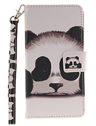 Painted Panda Pattern Card Can Lanyard PU Phone Case For Huawei P9 Lite P9 P8 Lite