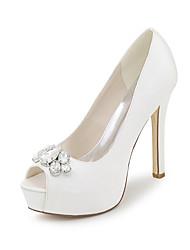 cheap -Women's Shoes Satin Spring / Summer Basic Pump Wedding Shoes Stiletto Heel Peep Toe Rhinestone Blue / Champagne / Ivory / Party & Evening