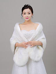 cheap -Sleeveless Faux Fur Wedding Party Evening Women's Wrap With Feathers / Fur Shawls