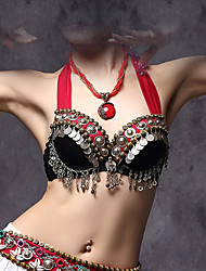 Belly Dance Tops Women's Cotton / Polyester / Metal Coins 1 Piece Black American tribal style Bra