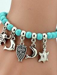 cheap -Women's Elephant Owl Strand Bracelet - Bohemian Handmade Fashion Circle Animal Blue Bracelet For Daily Casual