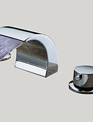 cheap -Contemporary Widespread Waterfall with  Ceramic Valve Three Holes Two Handles Three Holes for  Chrome , Bathroom Sink Faucet
