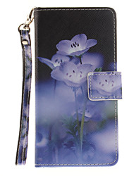 Painted Blue Flowers Pattern Card Can Lanyard PU Phone Case For Huawei P9 Lite P9 P8 Lite