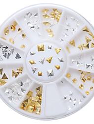 New 120Pcs Punk Rivet Nail Tips Golden Silver Metal Nail Art Tips Fashion Metallic Studs Stickers Fashion