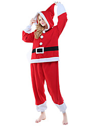 Kigurumi Pajama Santa Claus Costume Onesie Pajama Red Polar Fleece Cosplay For Adults' Animal Sleepwear Christmas Festival / Holiday