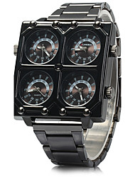 SHI WEI BAO Men's Military Watch Quartz Three Time Zones Stainless Steel Band Cool Black