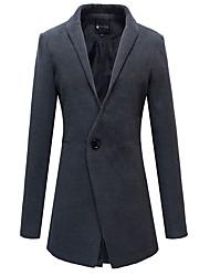 Manteau Pour des hommes Couleur plaine Décontracté / Travail Manches longues Coton Noir / Vert / Rouge / Gris