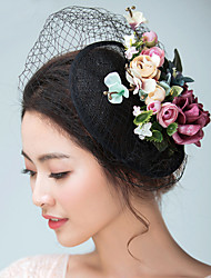 cheap -Flax Satin Fascinators Hats Headwear Birdcage Veils with Floral 1pc Wedding Special Occasion Headpiece