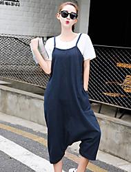 Da donna A vita medio-alta Semplice Media elasticità Jeans Tuta da lavoro Pantaloni,Largo Harém Tinta unita