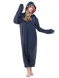 abordables -Adulto Pijamas Kigurumi Shark Pijamas de una pieza Disfraz Lana Polar Azul Tinta Cosplay por Ropa de Noche de los Animales Dibujos animados Víspera de Todos los Santos Festival / Celebración