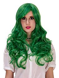 Women Green Long Curly Wig Lolita Fashion Wig For Halloween