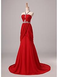baratos -Vestido de noite formal de chiffon com tiracolo de um line-line Halter / brush com vestido drapeado de beading by nameilisha